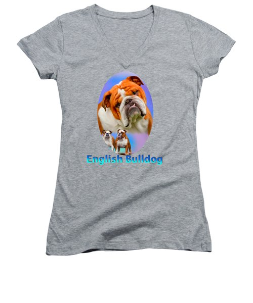 English Bulldog With Border Women's V-Neck