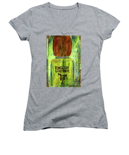 Women's V-Neck T-Shirt (Junior Cut) featuring the painting English Leather by P J Lewis