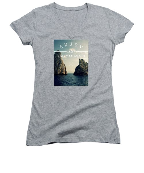 Enjoy Life Every Momens Women's V-Neck T-Shirt (Junior Cut) by Mark Ashkenazi