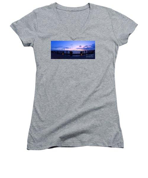 Women's V-Neck T-Shirt (Junior Cut) featuring the photograph Enjoying The Beautiful Evening Sky by Yali Shi