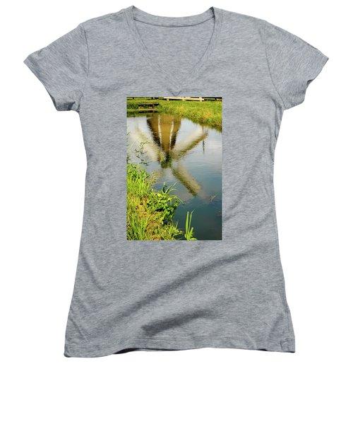 Women's V-Neck T-Shirt (Junior Cut) featuring the photograph Enkhuizen Windmill by KG Thienemann