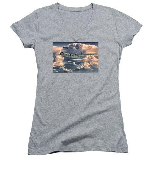 Enola Gay Women's V-Neck T-Shirt (Junior Cut) by Dave Luebbert