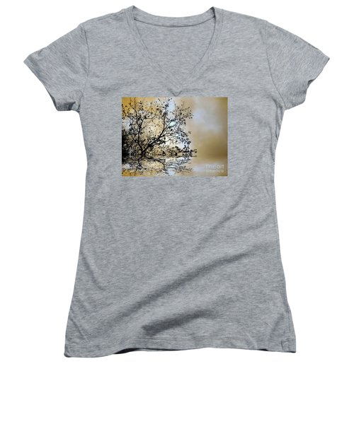 Women's V-Neck T-Shirt (Junior Cut) featuring the photograph Entangled by Elfriede Fulda