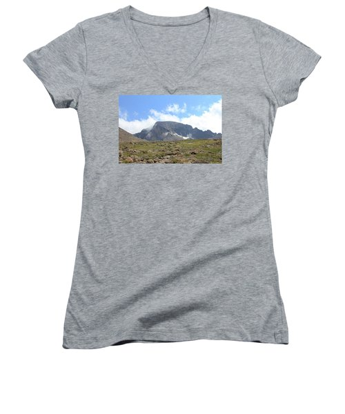 Entering The Boulder Field Women's V-Neck T-Shirt (Junior Cut) by Christin Brodie