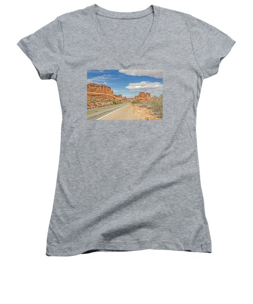 Women's V-Neck T-Shirt (Junior Cut) featuring the photograph Entrada Sandstone Formations by Sue Smith