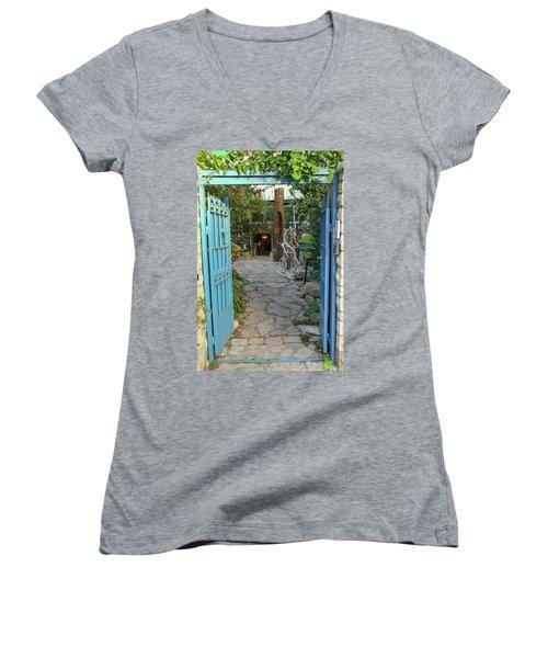 Entrance Door To The Artist Women's V-Neck T-Shirt (Junior Cut) by Yoel Koskas