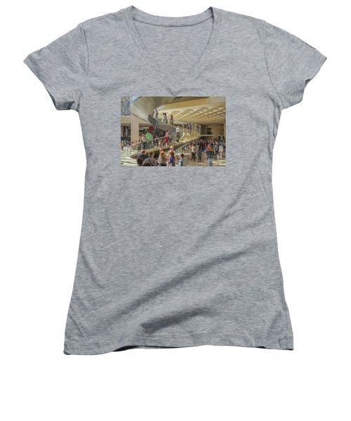 Entry Hall In The Louvre Museum Women's V-Neck (Athletic Fit)