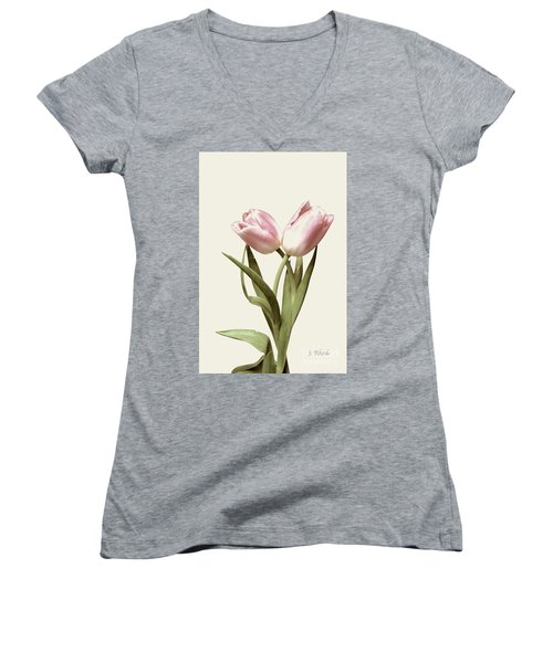 Entwined Tulips Women's V-Neck T-Shirt (Junior Cut) by Jeannie Rhode