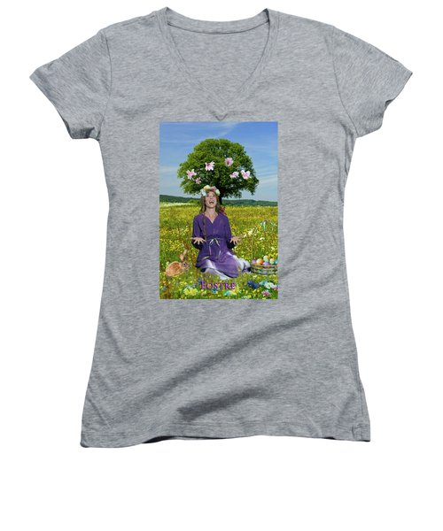 Eostre Women's V-Neck T-Shirt (Junior Cut) by David Clanton