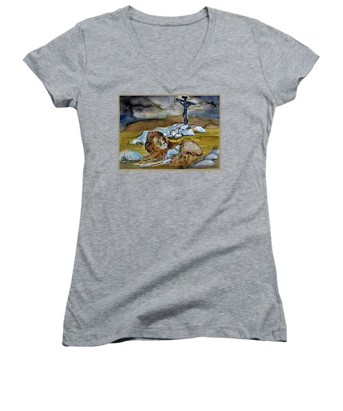 Women's V-Neck T-Shirt (Junior Cut) featuring the painting Ephesians 2 13 by Mindy Newman