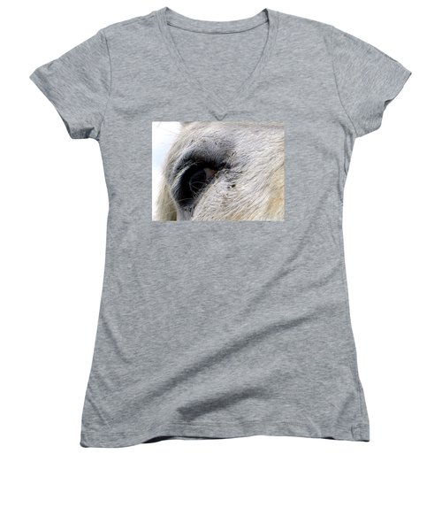 Women's V-Neck T-Shirt (Junior Cut) featuring the photograph Equine Eye by Chris Mercer