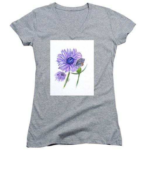 Erika's Butterfly Three Women's V-Neck T-Shirt (Junior Cut)