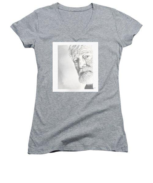 Ernest Hemingway Women's V-Neck T-Shirt (Junior Cut) by Antonio Romero
