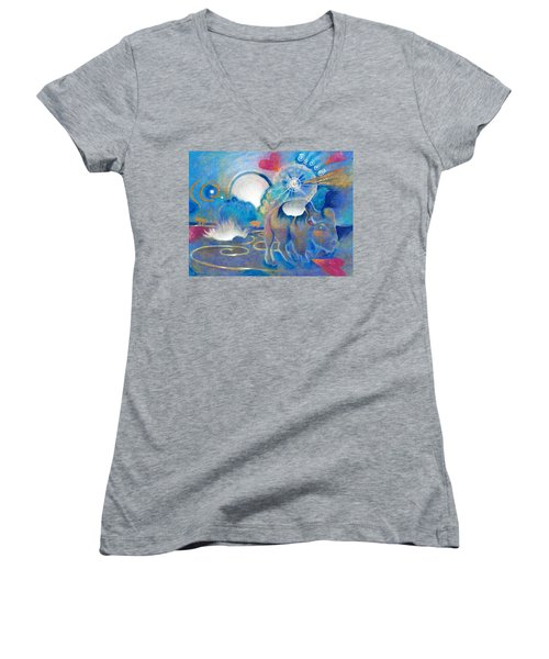 Eruption Of A Wish At The Fire Ceremony Women's V-Neck (Athletic Fit)