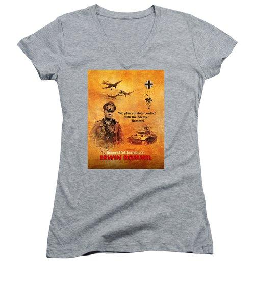 Erwin Rommel Tribute Women's V-Neck T-Shirt