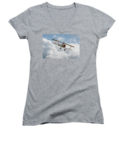 Women's V-Neck T-Shirt (Junior Cut) featuring the photograph Escadrille Lafayette - Hunters by Pat Speirs