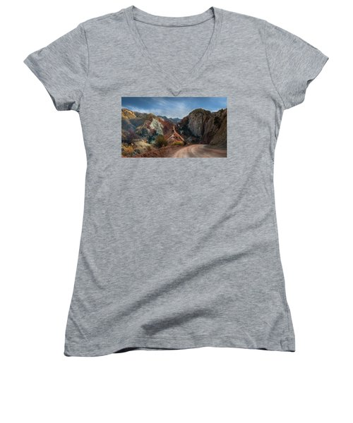 Grand Staircase Escalante Road Women's V-Neck (Athletic Fit)