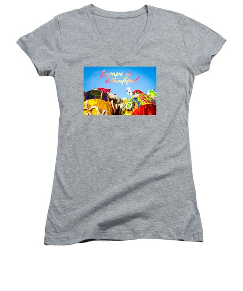 Women's V-Neck T-Shirt (Junior Cut) featuring the photograph Escape by Bobby Villapando