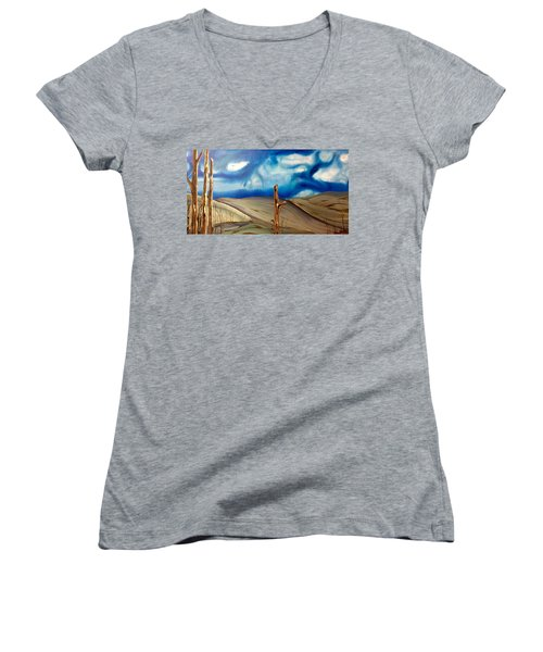 Women's V-Neck T-Shirt (Junior Cut) featuring the painting Escape by Pat Purdy