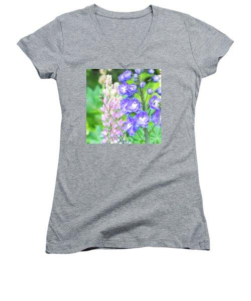 Escape To The Garden Women's V-Neck T-Shirt (Junior Cut) by Bonnie Bruno