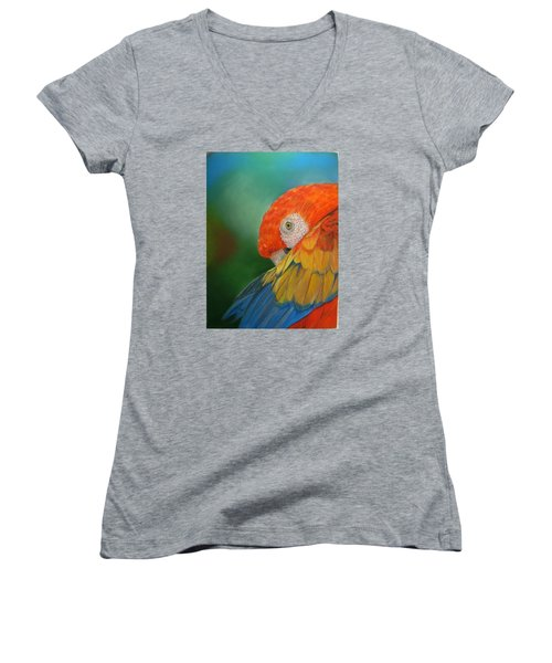 Women's V-Neck T-Shirt (Junior Cut) featuring the painting Escondida by Ceci Watson