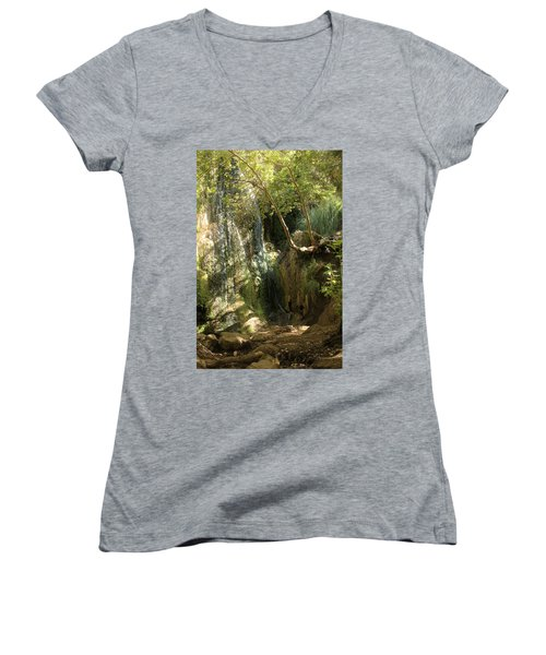 Escondido Falls In May Women's V-Neck (Athletic Fit)