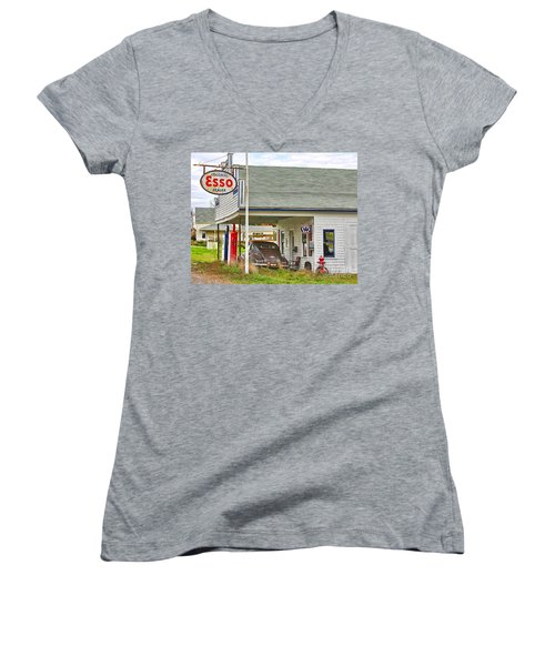 Esso Gas Staion Women's V-Neck T-Shirt