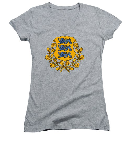 Women's V-Neck T-Shirt (Junior Cut) featuring the drawing Estonia Coat Of Arms by Movie Poster Prints