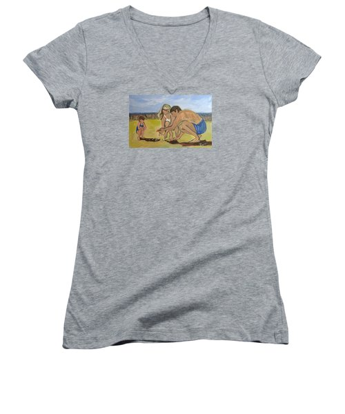Women's V-Neck T-Shirt (Junior Cut) featuring the painting Eternal Offering by Betty Pieper