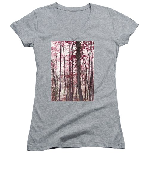 Ethereal Austrian Forest In Marsala Burgundy Wine Women's V-Neck T-Shirt (Junior Cut) by Brooke T Ryan