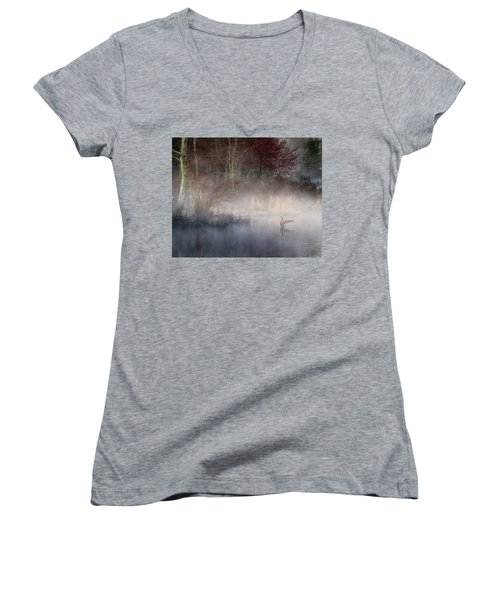Women's V-Neck T-Shirt (Junior Cut) featuring the photograph Ethereal Goose by Bill Wakeley