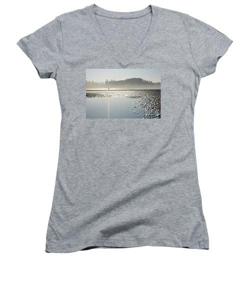 Ethereal Reflection Women's V-Neck T-Shirt (Junior Cut)
