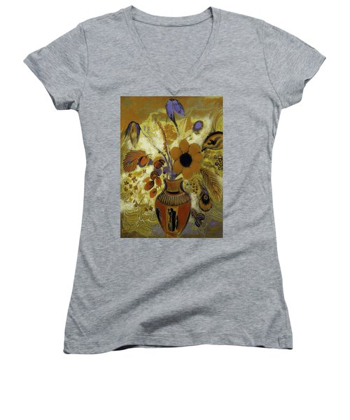 Women's V-Neck T-Shirt (Junior Cut) featuring the painting Etrusian Vase With Flowers by Odilon Redon