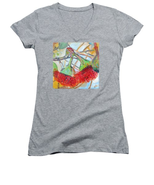 Women's V-Neck T-Shirt (Junior Cut) featuring the painting Eucalyptus Flowers by Reina Resto