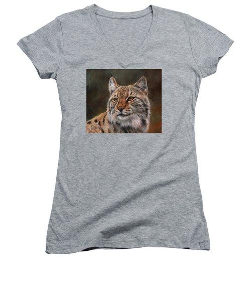 Eurasian Lynx Women's V-Neck T-Shirt (Junior Cut) by David Stribbling