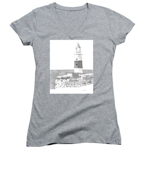 Europa Point Lighthouse Women's V-Neck (Athletic Fit)