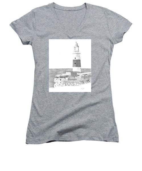 Europa Point Lighthouse Women's V-Neck T-Shirt