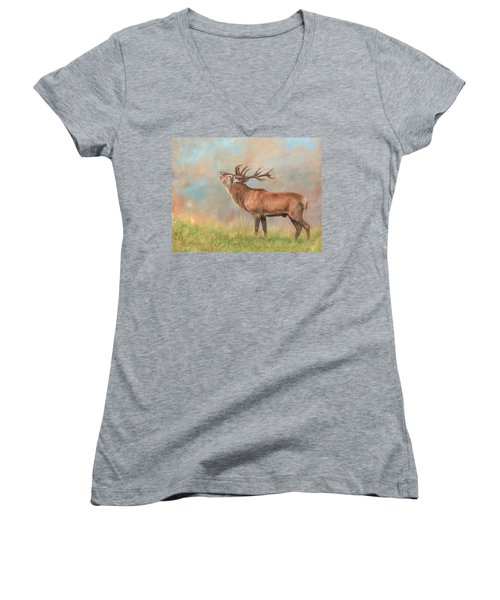 Women's V-Neck T-Shirt (Junior Cut) featuring the painting European Red Deer by David Stribbling