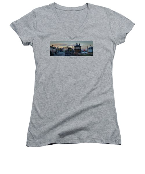 Evening At Bo'ness Station Women's V-Neck (Athletic Fit)