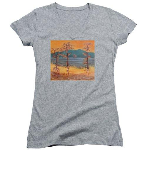Evening At Caddo Lake Women's V-Neck T-Shirt