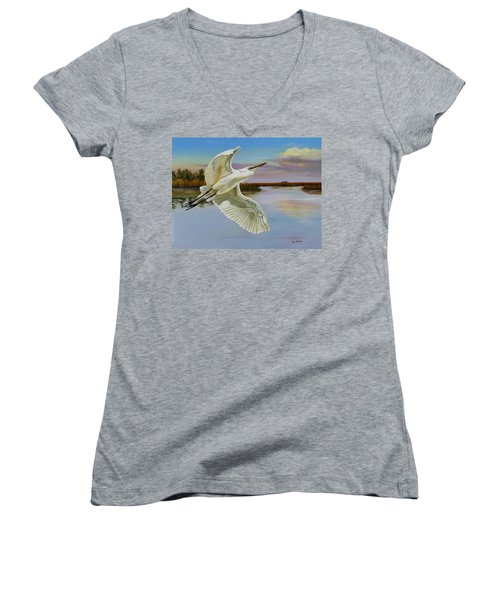 Evening At Campbell's Bayou Women's V-Neck T-Shirt