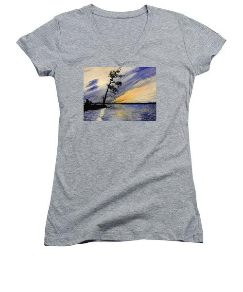 Evening At Petrie Island Women's V-Neck T-Shirt (Junior Cut) by Betty-Anne McDonald