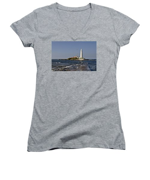 Evening At St. Mary's Lighthouse Women's V-Neck (Athletic Fit)