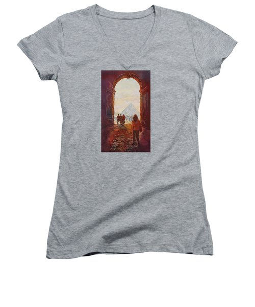 Evening At The Louvre Women's V-Neck T-Shirt (Junior Cut) by Jenny Armitage