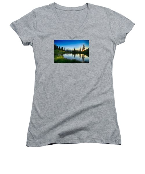 Evening At Tipsoo Women's V-Neck T-Shirt