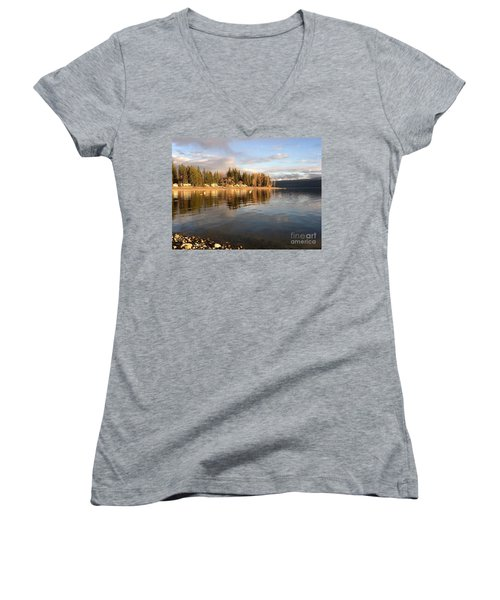 Evening By The Lake Women's V-Neck T-Shirt (Junior Cut) by Victor K