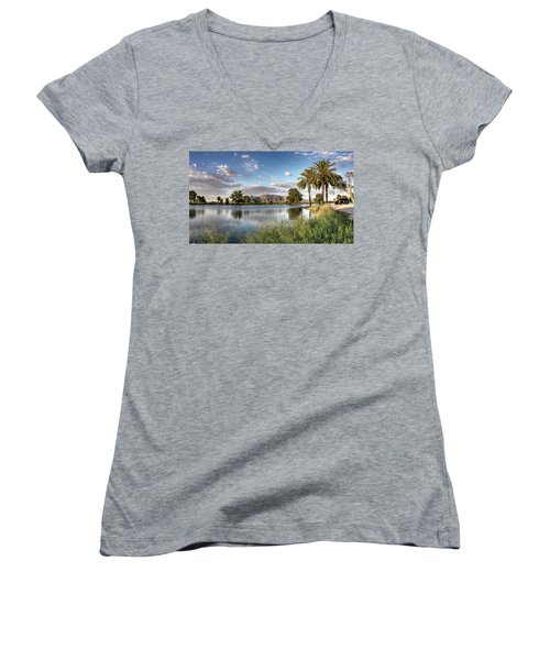 Women's V-Neck featuring the photograph Evening Fishing by Lynn Geoffroy