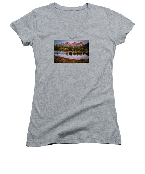Evening Glow At Molas Lake Women's V-Neck (Athletic Fit)