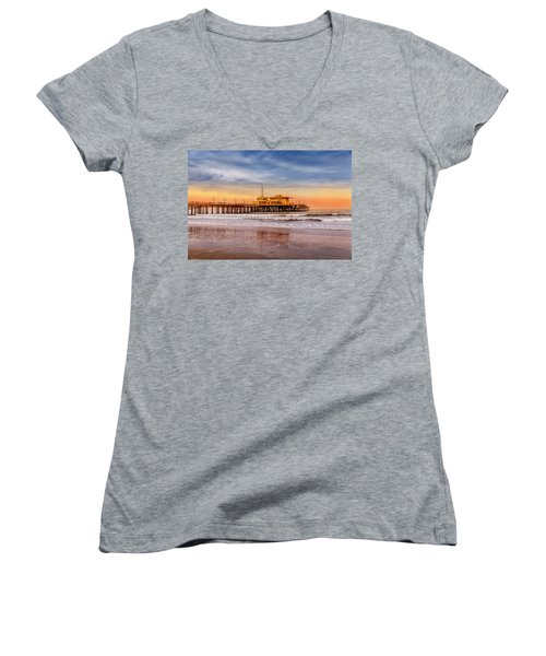 Evening Glow At The Pier Women's V-Neck