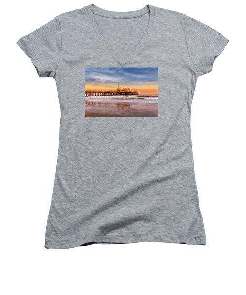 Evening Glow At The Pier Women's V-Neck T-Shirt
